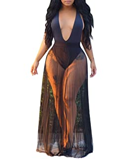 XAKALAKA Womens Casual See Through Sheer Mesh Long Skirt Beach Party Maxi Skirts