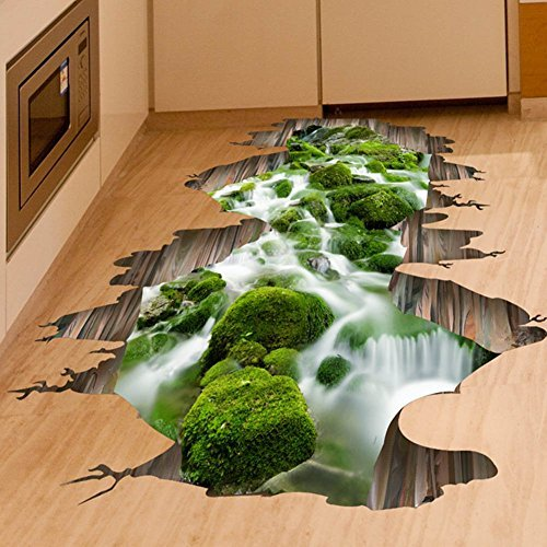 Fangeplus Tm 3d Creek Floor Sticker Hole View Diy