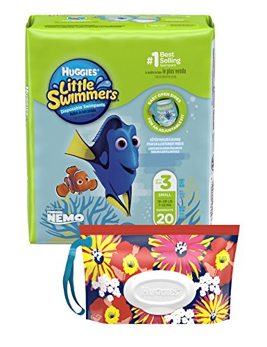 Huggies Little Swimmers Disposable Swim Diaper, Swimpants, Size 3 Small (16-26 lb.), 20 Ct., with Huggies Wipes Clutch 'N' Clean Bonus Pack (Packaging May Vary) from HUGGIES
