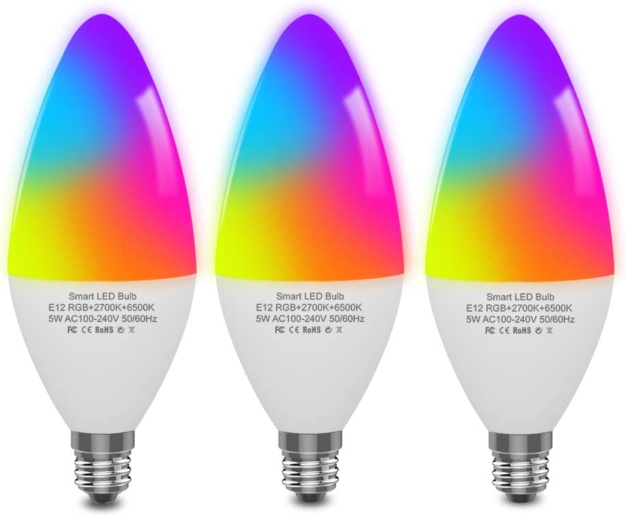 DOGAIN Smart Light Bulbs E12 Base LED Color Light bulbs Candelabra Light Bulbs Compatible with Alexa Google Home,Dimmable and Color Changing,320 lm 35w Equivalent (2.4 Ghz only) 3 Pack