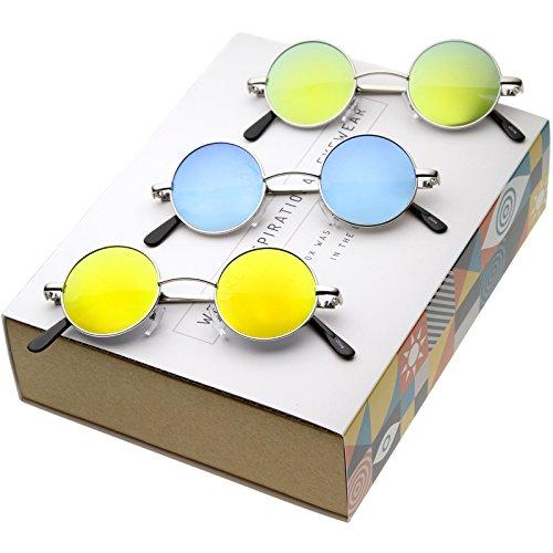 - zeroUV - Retro Round Sunglasses for Men Women with Color Mirrored Lens John Lennon Glasses (3-Pack   Silver/Blue + Or)