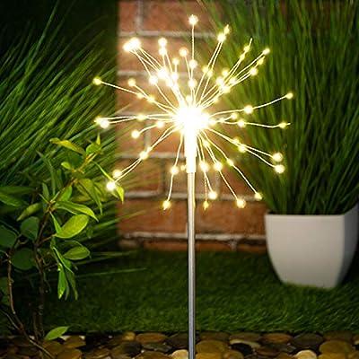 Globrite 120 luces LED solares para estaca de jardín, luz blanca ...