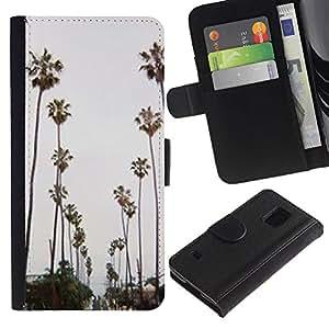 iBinBang / Flip Funda de Cuero Case Cover - Trees Road Beach Miami - Samsung Galaxy S5 V SM-G900
