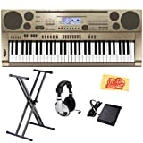 Casio AT3 61-Key Portable Keyboard Bundle with Keyboard Stand, Headphones, Sustain Pedal, and Polishing Cloth