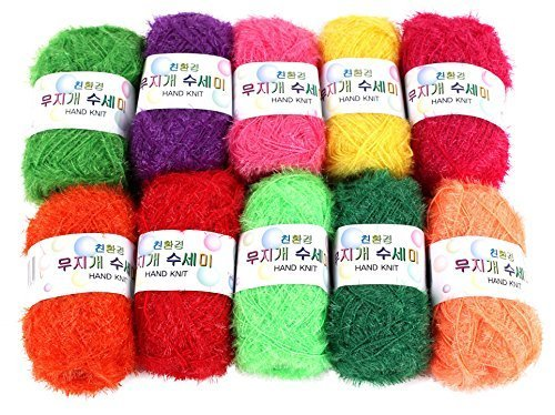 (Rainbow Crochet Yarn 10 Skeins Assorted Colors 100% Polyester )