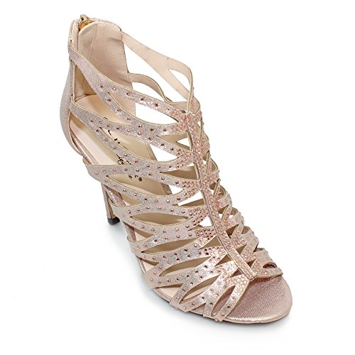 Lunar Sandalias de vestir para mujer oro rosa