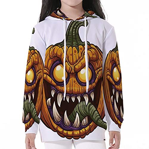 (Unisex Child Hoodie,Halloween,Scary Pumpkin Monster Evil Character with Fangs)