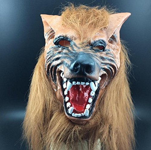 mywaxberry Halloween Festival Costume Party Vinyl Brown Scary Wolf Fur Cosplay mask Headgear - Brown Wolf Vinyl Mask