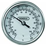 General Tools & Instruments T300-36 36 X 3 Inch Dial Soil Thermometer 0 to 220 Degrees Fahrenheit with 1/2 Inch NPT Fitting