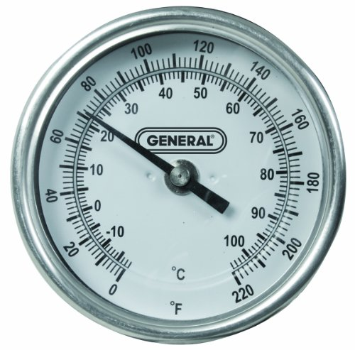 General Tools T300-36 Analog Soil Thermometer, Long Stem 36 Inch Probe, 0 to 220 degrees Fahrenheit (-18 to 104 degrees Celsius) Range, Ideal for Taking Ground and Soil Temperature for Composting, Gardening and Agricultural Applications ()