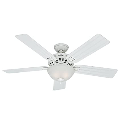 Hunter 53122 Beachcomber 52-Inch White Ceiling Fan with Five White  Beadboard Blades and Light