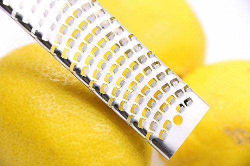 Orblue Zester Stainless Steel Grater, Cheese, Lemon, Ginger & Potato Zester with Plastic Cover, Long Ergonomic Handle with Rubber Base (Black) by Orblue (Image #3)