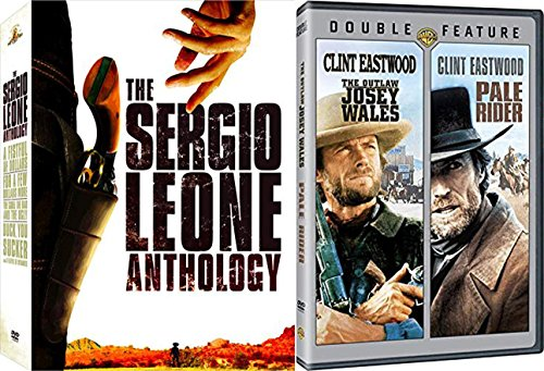 Wild Clint Western Collection Eastwood Sergio Leones No Name Fistful of Dollars / Good Bad Ugly / Few More / Duck, You Sucker Anthology + Outlaw Josey Wales / Pale Rider 6 Movie Film Pack