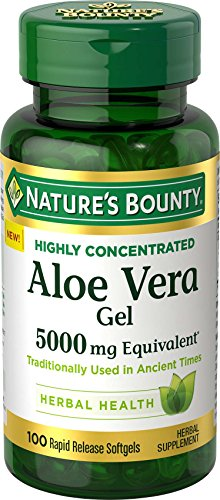 Aloe Vera Gel Softgel Capsules - Nature's Bounty Aloe Vera Gel Pills and Herbal Health Supplement, Soothing and Plant-Based, 5000mg, 100 Softgels