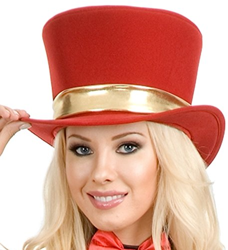 Women's Circus Magician Showgirl Red Top Hat With Gold Ribbon Costume Accessory (Circus Magician Costume)