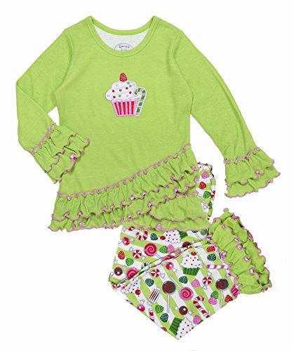 Sara's Prints Girls' Cupcake & Sweet Treats Ruffled Pajama Set,12