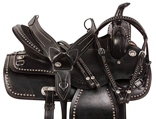 AceRugs BLACK WESTERN PLEASURE TRAIL BARREL RACING SHOW HORSE LEATHER SADDLE TACK SET 15 16 17 18 (16) ()