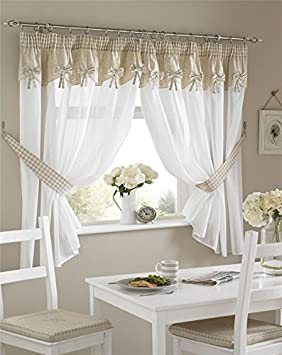 petit carreau noeuds blanc beige cuisine Rideau plissé 46x54 ...