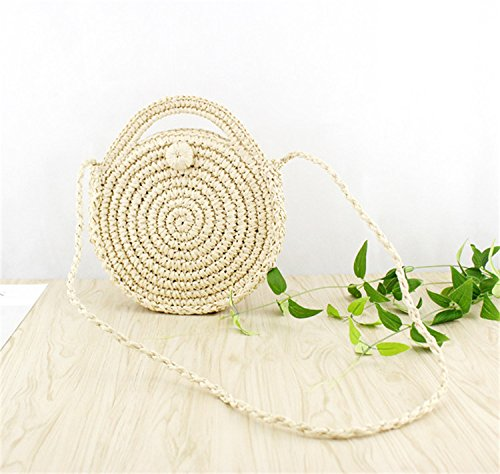 Handbags Shoulder Weave Women Purse Straw And Summer Crossbody Round Beach Bag Beige wtInvqZ