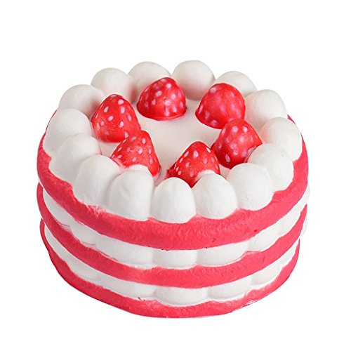 MakeupstoreToy,Jumbo Squishy Stress Relief Squeeze Toys, Mini Strawberry Cake Stress Reliever Squishy Slow Rising Cream Scented Decompression Cure Toy Simulation Kid Toy (Red)