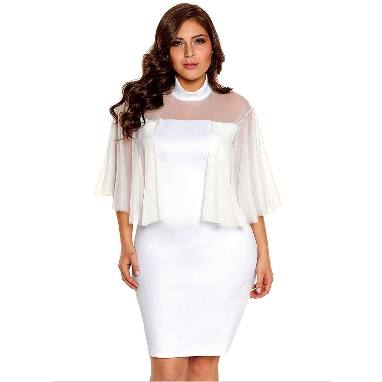 Kleid der Frau Frauen Kleider Rundhals Transparent Net Garn Splice ...