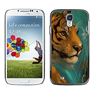 Paccase / SLIM PC / Aliminium Casa Carcasa Funda Case Cover para - Tiger Drawing Paintin Watercolor Cat Face - Samsung Galaxy S4 I9500