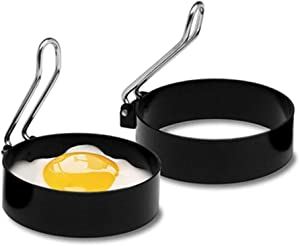 Egg Ring, Stainless Steel Handle Non Stick Metal Circle Shaper Mold, Round Egg Omelet Mold Pancake Maker Mold, Household Kitchen Cooker Tool for Frying Egg McMuffin or Sandwiches 2PACK