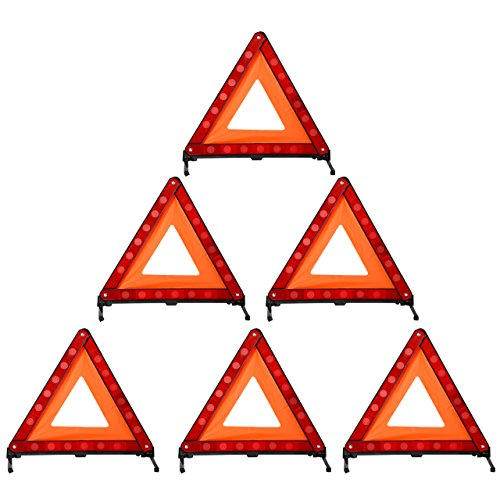 DEDC Warning Triangle Foldable Safety Triangle Triple Warning Kit Warning Triangle Reflector Roadside Hazard Sign Triangle Symbol for Emergency with Storage Bag (6 Pack)