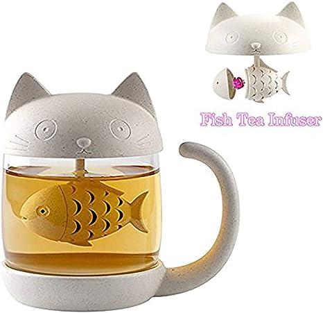 YQG Taza de Té, Cristal Gato Taza de Agua Bottle, con un Filtro Que Forma de pez, Infusor de Te, Lindo de Taza de Café es Mejor Regalo para Cumpleaños (250ml): Amazon.es: