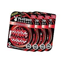 Playboy Condoms Extra sensible colección 2018 con 4 paquetes de 3 condones c/u