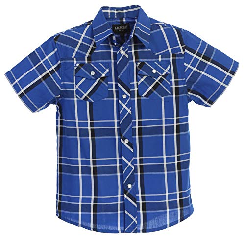 Gioberti Boys Casual Western Plaid Pearl Snap-on Buttons Short Sleeve Shirt, Royal Blue/White/Black : Size 14 ()