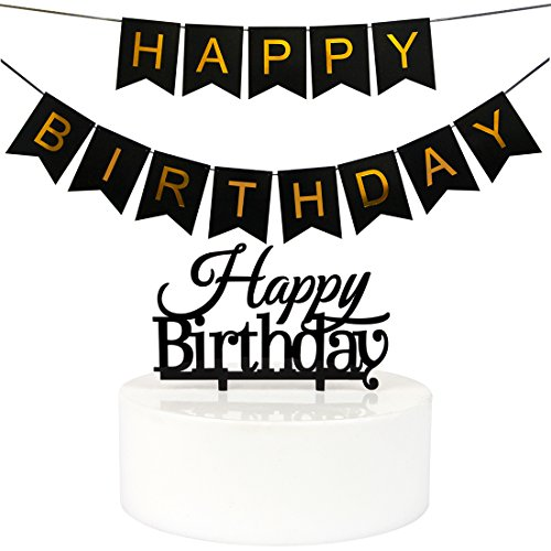 INNORU(TM) Black Happy Birthday Banner Bunting and Cake Topper ,Birthday Party Supplies ,40th - 50th - 60 - 70th - 80th Banners and Cake toppers (1 Set)
