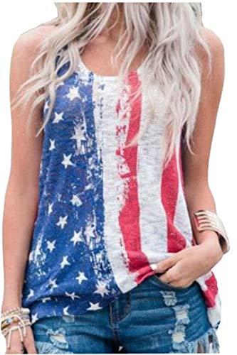 Women's American Flag Stars Stripe Print Tank Top Sleeveless USA Patriotic Casual T Shirt ()