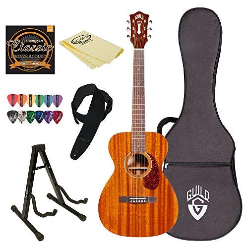 Natural Acoustic Concert Guitar with Poly Foam Case & ChromaCast Accessories - Guild M-120 NAT-KIT-2