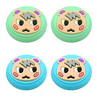 Marshal Design Thumb Grip Caps, Joystick Cap for Nintendo Switch & Lite Animal Crossing, Soft Silicone case for Joy-Con Controller(Green & Blue)