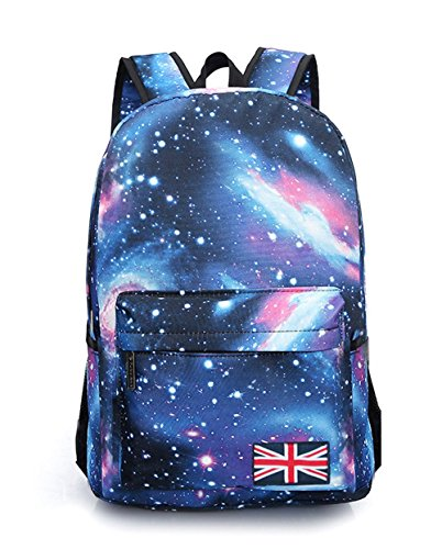 Fansela(TM) Unisex Vintage Galaxy Canvas Backpack School Bag Blue