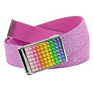 Girl's School Uniform Sparkly Rainbow Crystal Flip Top Buckle with Canvas Web Belt Medium Glitter Pink