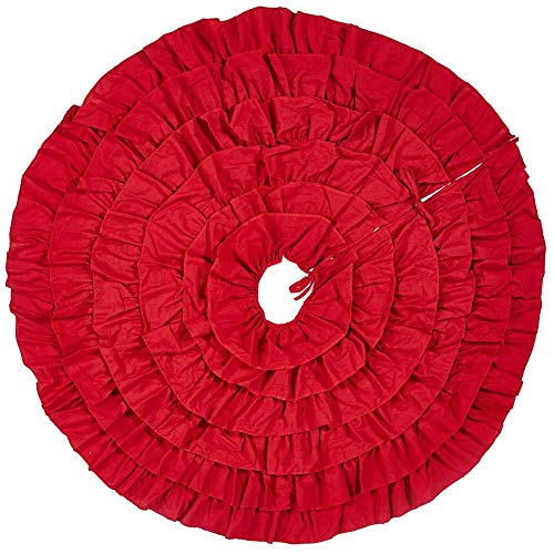 Sea Plan 48 inch Christmas Tree Skirt Red Linen Pleated Skirt Holiday Decoration Ruffle (Christmas Tree Trunk Too Soft For Stand)