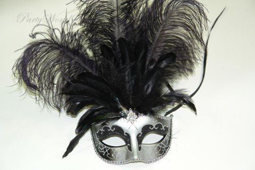 Pretty Feathered Venetian Black Silver Masquerade (Feathered Masquerade Mask)