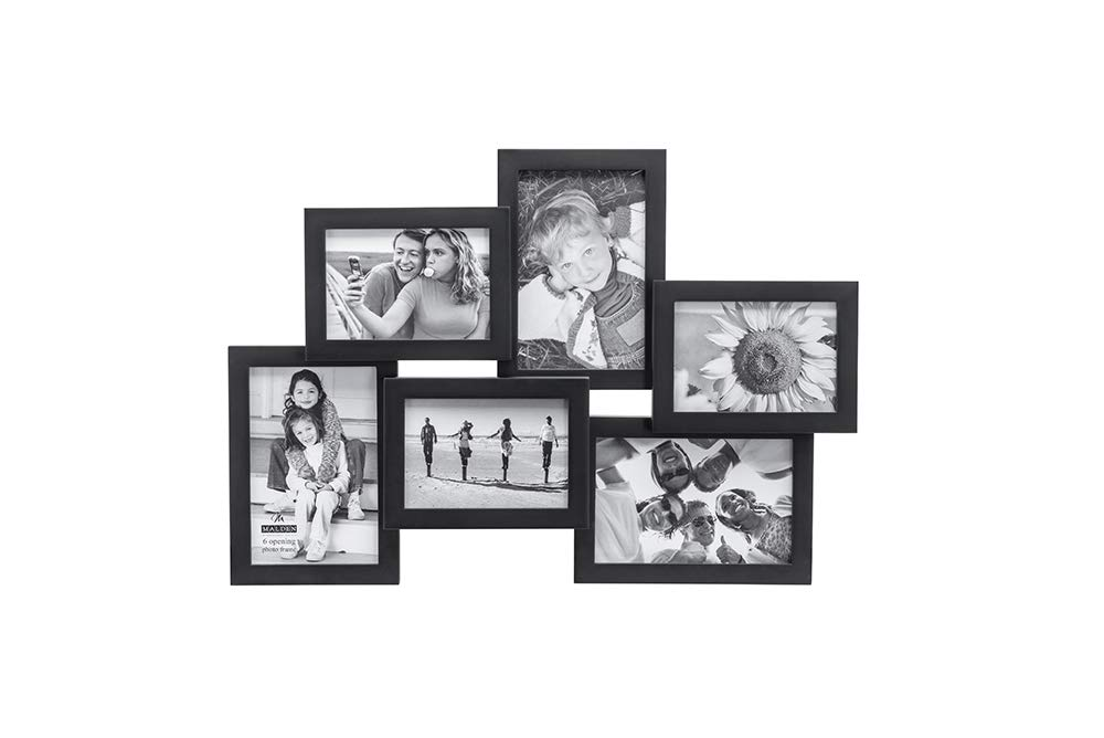 Malden International Designs Crossroads Puzzle Collage Picture Frame, 6 Option, 3-3.5x5 & 3-4x6, Black by Malden International Designs