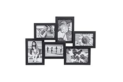 Amazon.com - Malden International Designs Crossroads Puzzle Collage Picture Frame, 6 Option, 3-3.5x5 & 3-4x6, Pack of 4, Black -