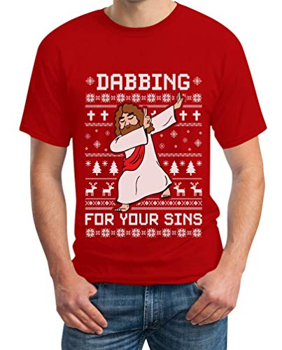 Rosso Dab Maglietta Dabbing Uomo Sins Your Da For Shirtgeil Christmas Ugly Gesù F7nfn6