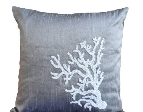 Amore Beaute Handmade Customizable Decorative Pillow Covers with White Coral Reef Hand Embroidery- Grey Art Silk Dupioni Pillows with Beads detail- Nautical Cushion covers-Couch Cushions- ()