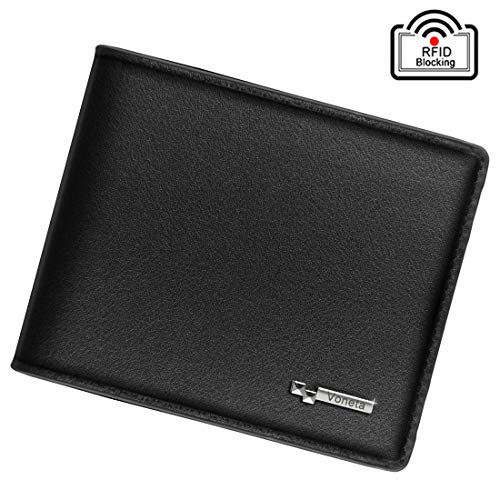 Mens Wallet RFID Blocking Leather Wallet | Voneta Luxury Soft Wallet for Men| RFID Trifold Wallet Men | Credit Card Protector Purse Men Credit Card Holder 9 Card Slots and 1ID Window with Gift Box (Black)
