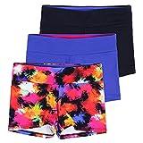 Layla Girls Dance Shorts, Gymnastics & Dancewear, 3-Pack, Graffiti, 9/10