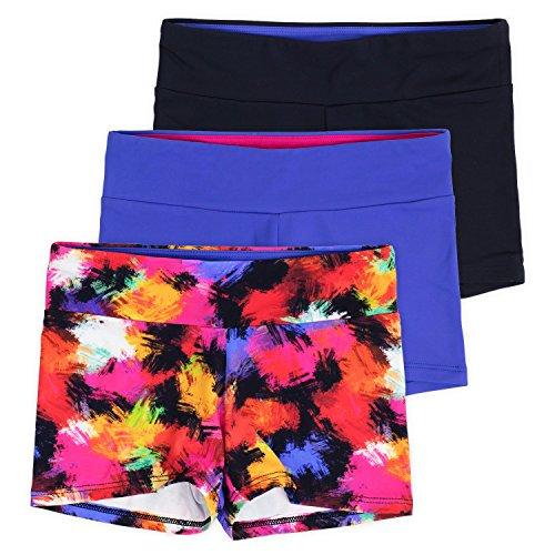 Layla Girls Dance Shorts, Gymnastics & Dancewear, 3-Pack, Graffiti, 9/10 by Lucky & Me (Image #6)