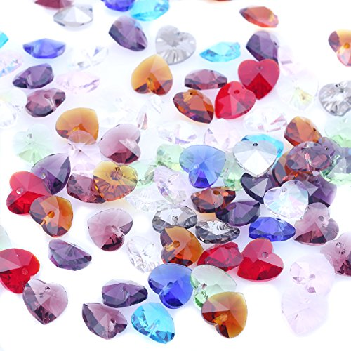 10mm Crystal Beads Pendant Mixed Color Heart Shaped Wholesale 50pcs