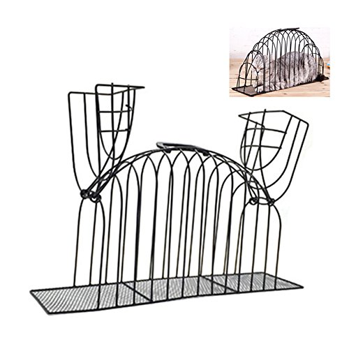 Petacc Cat Cage Smooth Kitty Washing Cage Multifunctional Pet Shower Cage Steel Wire Cat House with Double Doors, Suitable for Injection, Bathing and Recovery, Black, S by Petacc