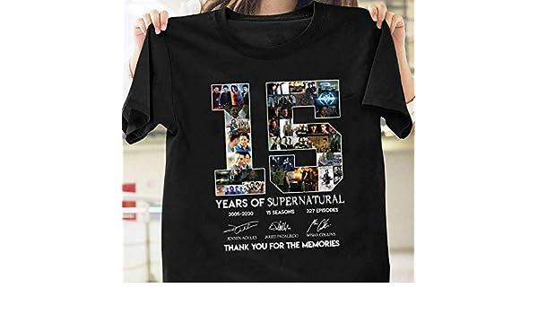 95a2550821f Amazon.com: Supernatural 15 Years Anniversary Dean Sam Castiel Signatures T- Shirt Longslee Sweatshirt Hoodie: Handmade