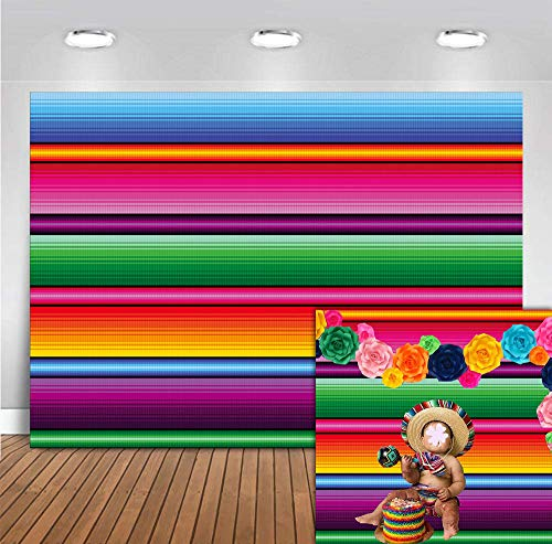 Fanghui 9x6ft Mexico Color Fiesta Theme Party Stripes Backdrop Great as Mexican Dress-up Luau Party Banner Photo Booth Background Summer Pool Birthday Party Decoration ()
